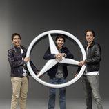 Merhi, Wickens y Vietoris con el símbolo de Mercedes-Benz