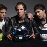 Roberto Merhi, Christian Vietoris y Robert Wickens con sus cascos