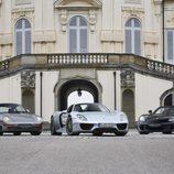 Porsche 918 Spyder, 959 y Carrera GT - front