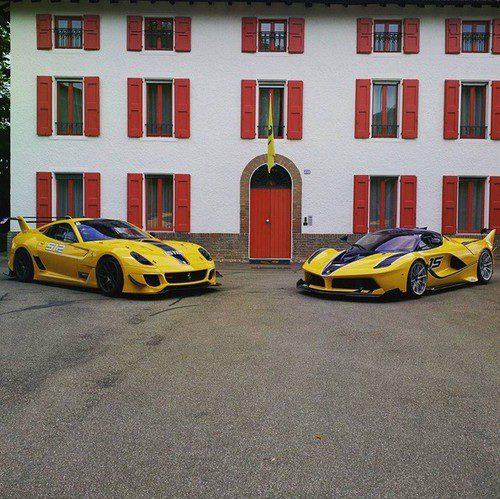 Ferrari FXX K y el 599XX amarillos