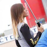 Azafata de imagen del Italtrans en el GP Gran Bretaña