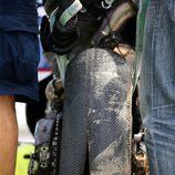 Neumático Michelin de Loris Baz en Sepang reventado