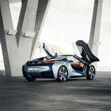 BMW i8 spyder concept 2012, exterior, tres cuartos trasera, puertas abiertas
