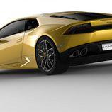 Lamborghini Huracán LP610-4, amarillo tres cuartos trasera