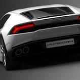 Lamborghini Huracán LP610-4, blanco trasera