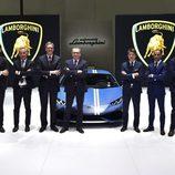 Directivos de Lamborghini en el Salón de Pekín 2016