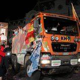 Camión KH7 en el podio del Dakar