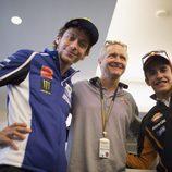 Márquez y Rossi con el mítico Kevin Schwantz