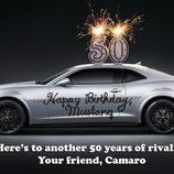 Felicitación del Chevrolet Camaro al Ford Mustang