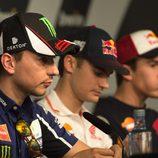 Pedrosa, Lorenzo y Márquez en rueda de prensa en Jerez