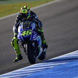 Valentino Rossi al final de la recta de atrás en Jerez
