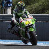 Álvaro Bautista en la frenada de la curva 6 de Jerez