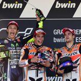 Todos contentos en el podio del GP de España de MotoGP