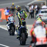 Ritual antes de salir de boxes para Valentino Rossi