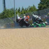 Caída de Nicky Hayden en la salida en Le Mans