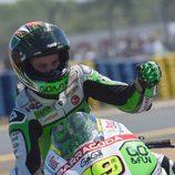 Álvaro Bautista celebra su tercer podio de MotoGP en Le Mans