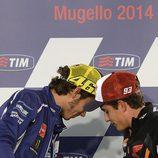 Márquez y Rossi en la rueda de prensa del GP de Italia