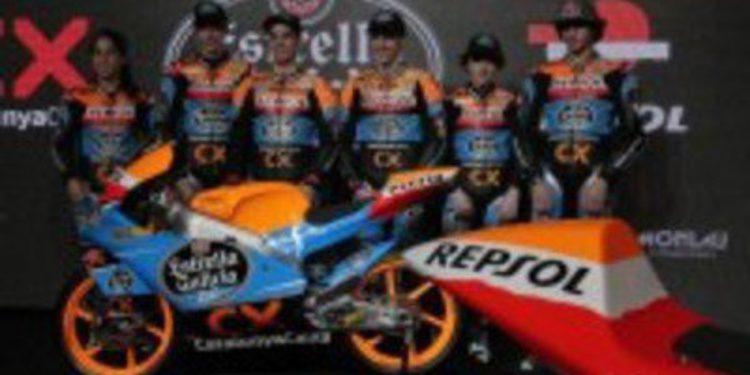 Alex Rins y Miguel Oliveira presentan el equipo Estrella Galicia 0,0 de Moto3