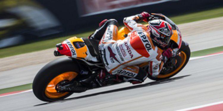 Marc Márquez en su línea en los FP3 de MotoGP en Texas