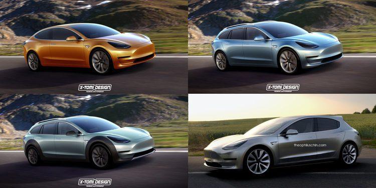 Primer vídeo en la calle y nuevas variantes en render del Tesla Model 3
