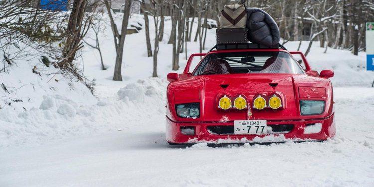 Detrás de las escenas del vídeo del Ferrari F40 derrapando sobre la nieve