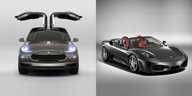 Increíble: Carreras de aceleración entre un Tesla Model X y un Ferrari F430 Spider