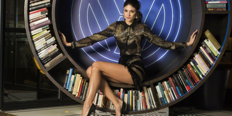 La modelo Linda Morselli y el T-Roc en Madrid