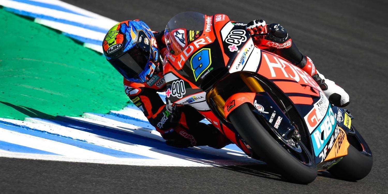 Jorge Navarro destaca en los libres de Moto2 en Jerez
