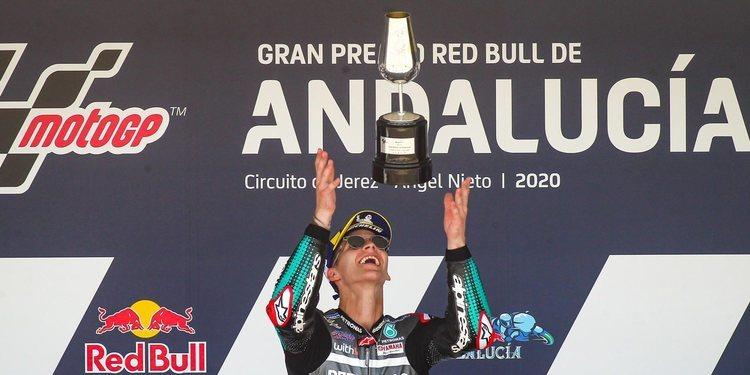 Los pilotos que han protagonizado el Gran Premio de Andalucía muestran sus sentimientos tras la carrera