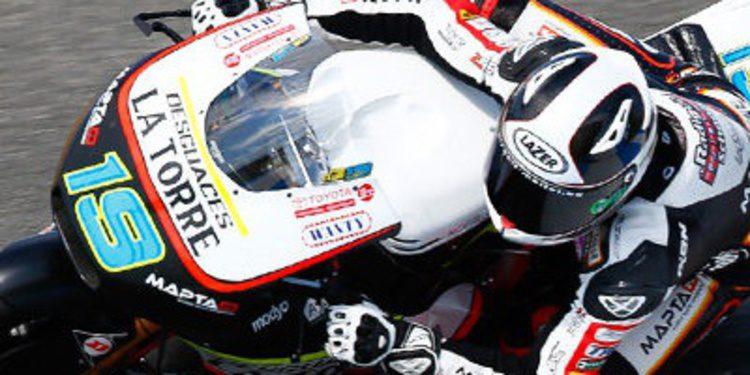 Xavier Simeón emocionado con su primer podio en Moto2