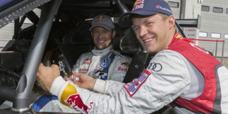 Ogier en un DTM y Mattias Ekström con el Polo R WRC