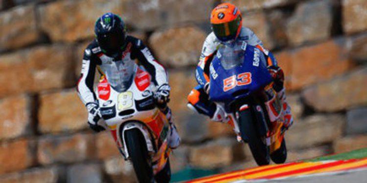 I. Viñales con pista húmeda en los FP3 Moto3 de Aragón