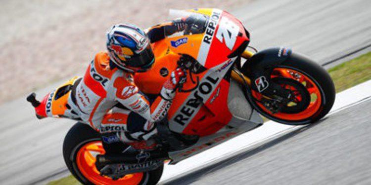 Triplete de Dani Pedrosa en los libres de MotoGP en Sepang