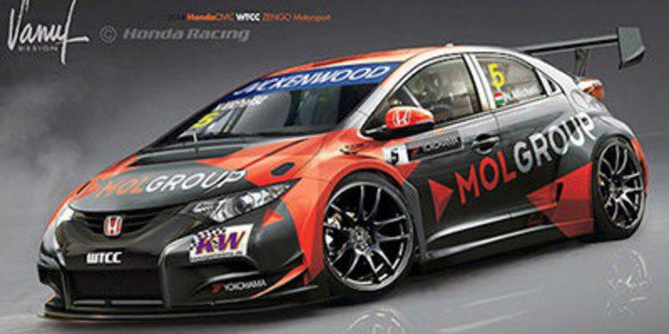 Norbert Michelisz muestra la decoración de su Honda 2014
