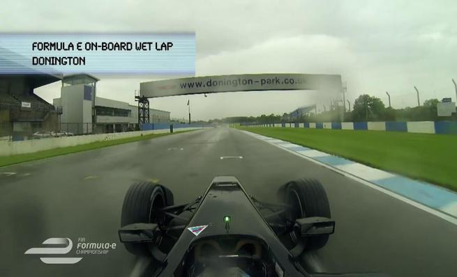 On board Formula E durante el shakedown en Donington