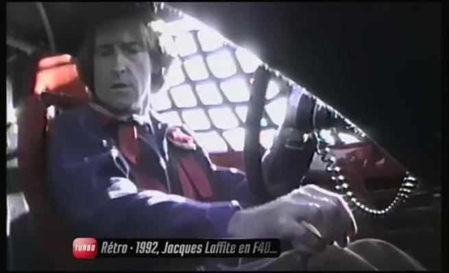 Jacques Laffite pasea un Ferrari F40 LM