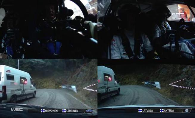 On Board Jari-Matti Latvala vs Mikko Hirvonen - SS02 Rally de Gales 2014